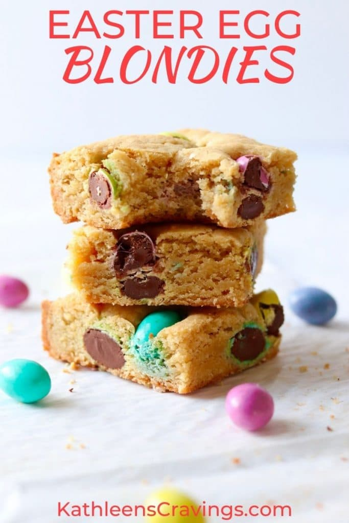 Stack of Easter egg blondies with easter candies