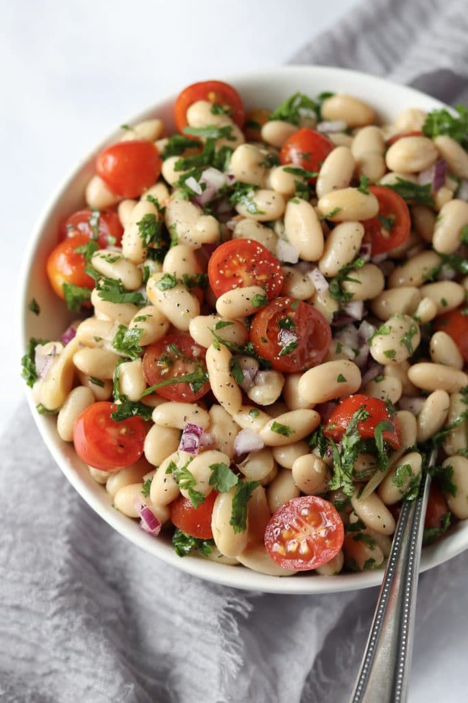 Bowl of white bean salad