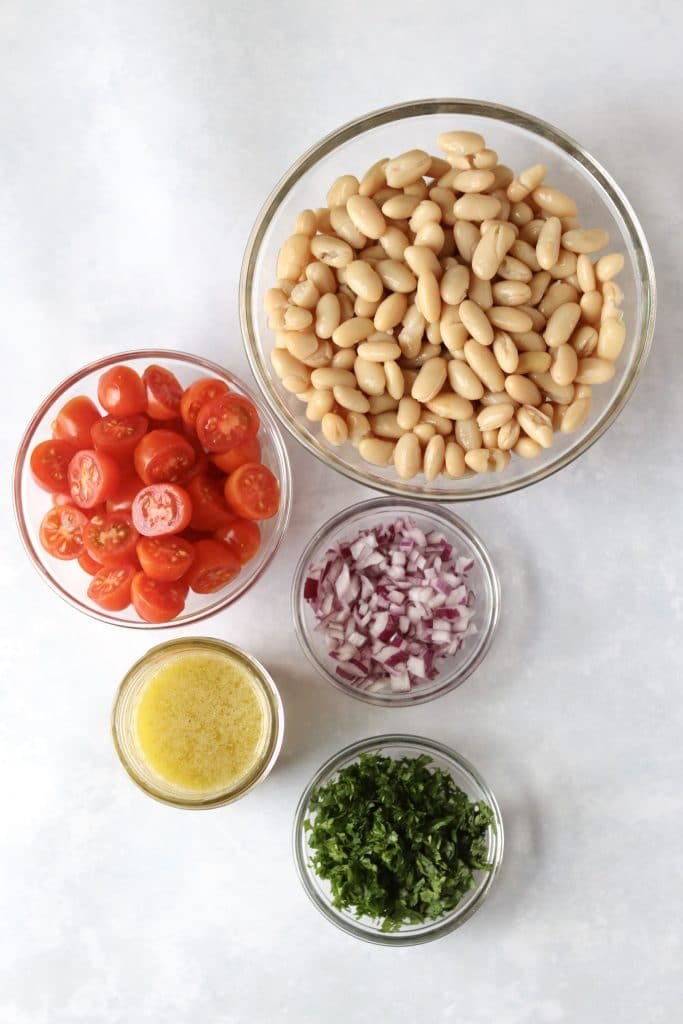 White Bean Salad ingredients in bowls