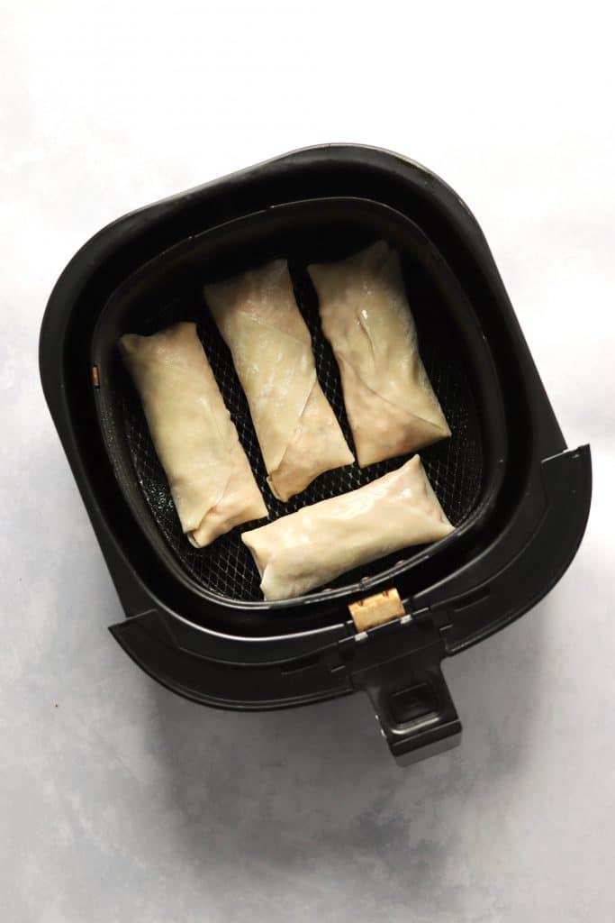 Homemade egg rolls in an air fryer