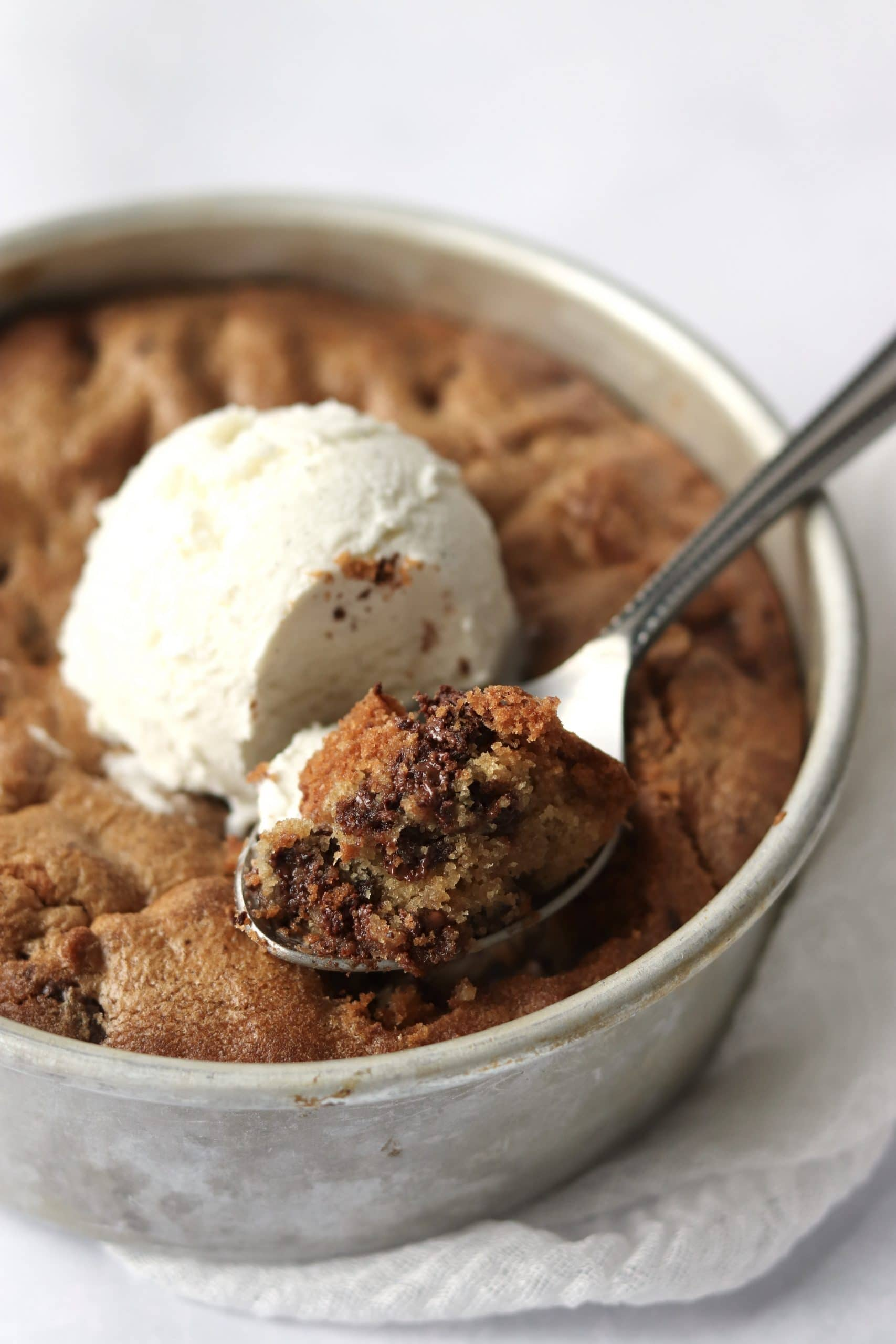 Chocolate chip cookie skillet with ice-cream