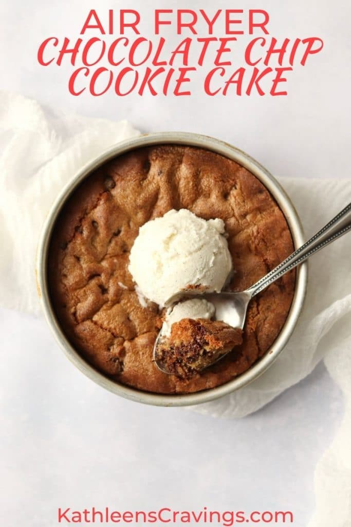 Air fryer chocolate chip cookie cake