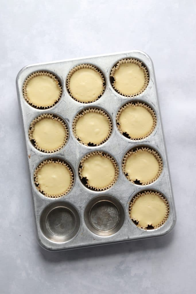Baked small batch mini cheesecakes in muffin tin