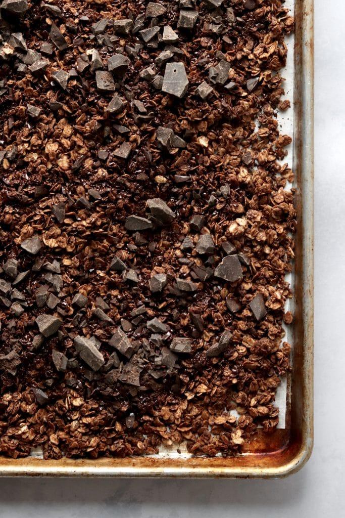 Double chocolate granola on sheet pan