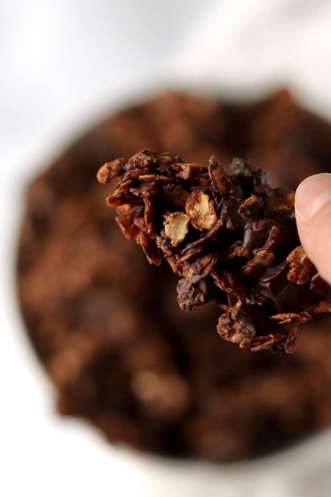 Close up of a piece of chocolate granola