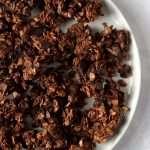 Plate of double chocolate granola