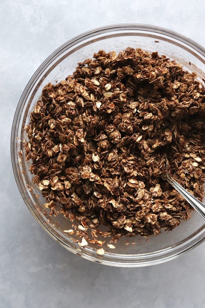 Bowl of unbaked vegan chocolate granola