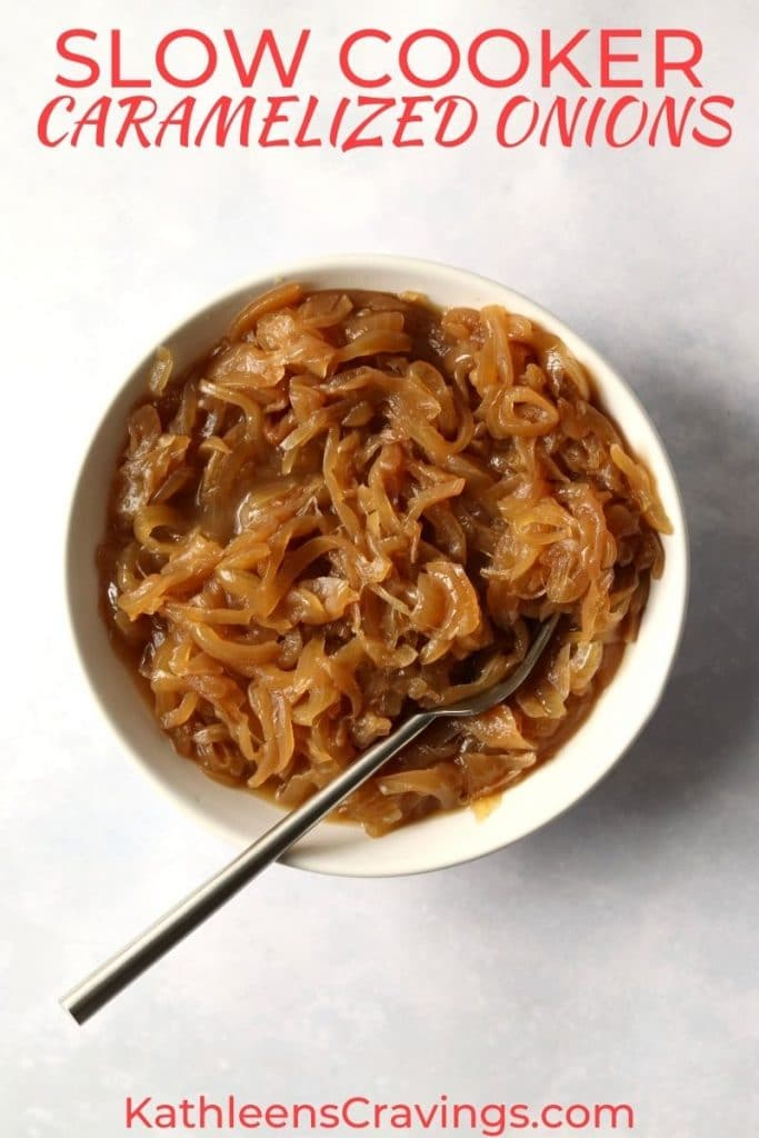 Caramelized Onions in a bowl with text