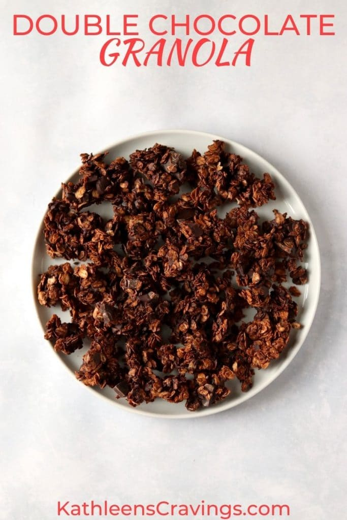 vegan chocolate granola clusters on a plate