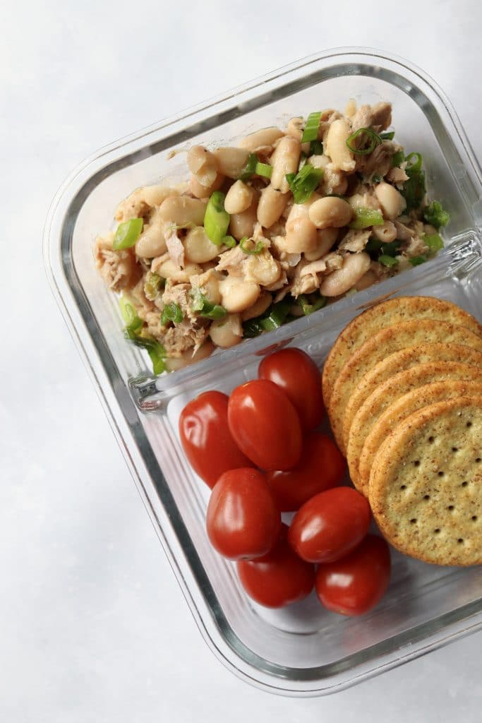 white bean tuna salad meal prep with crackers for lunch