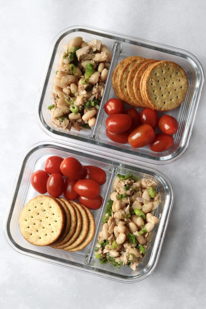 white bean tuna salad meal prep with crackers
