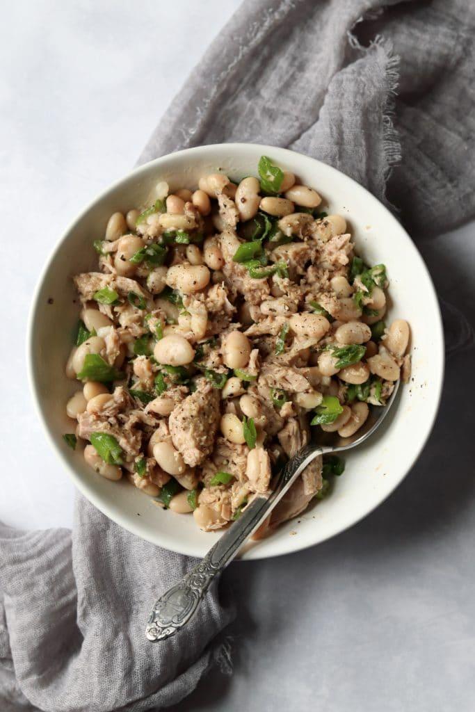 white bean tuna salad in bowl