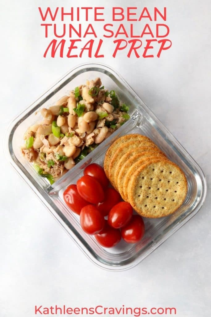 white bean tuna salad in meal prep container