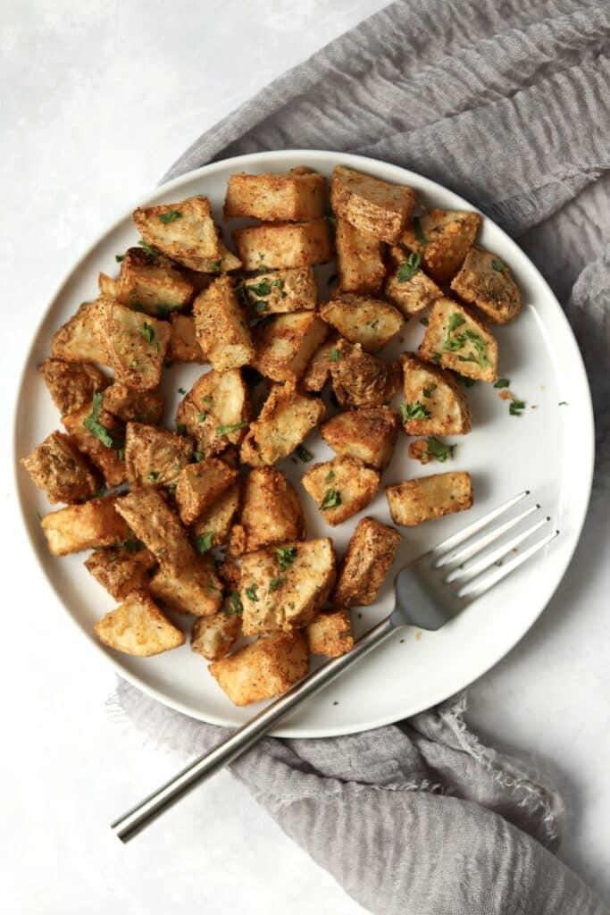 air fryer potatoes on a plate