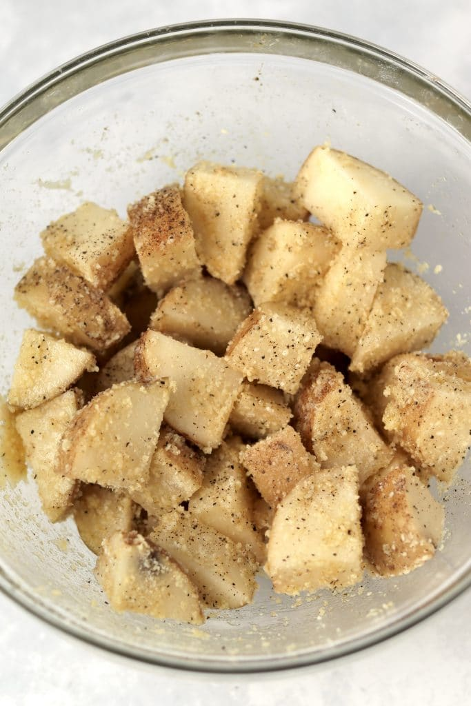 Cubed russet potatoes in bowl