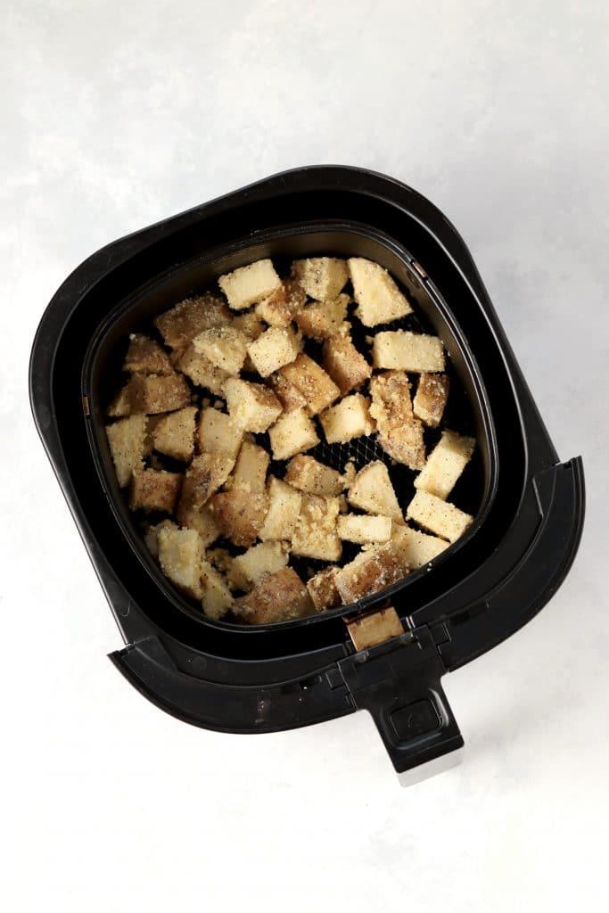 uncooked potatoes in air fryer