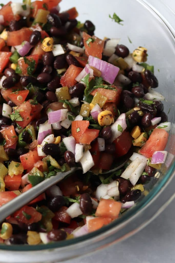 mixed homemade salsa in bowl
