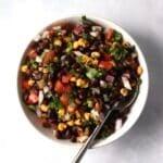 Black bean salsa with corn in a bowl