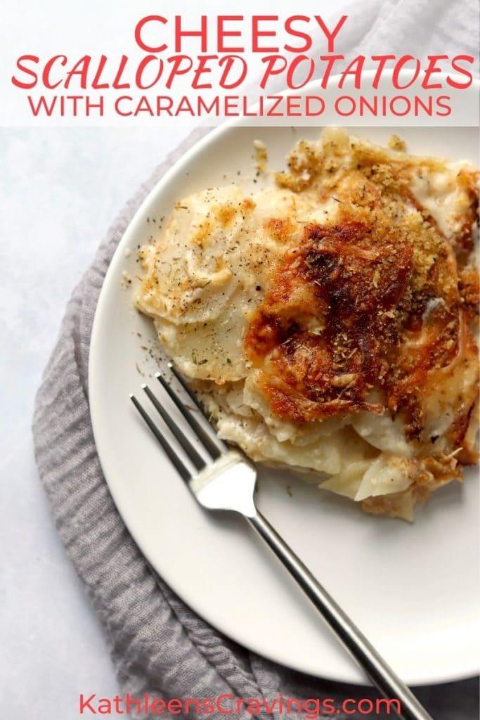 cheesy scalloped potatoes on a plate