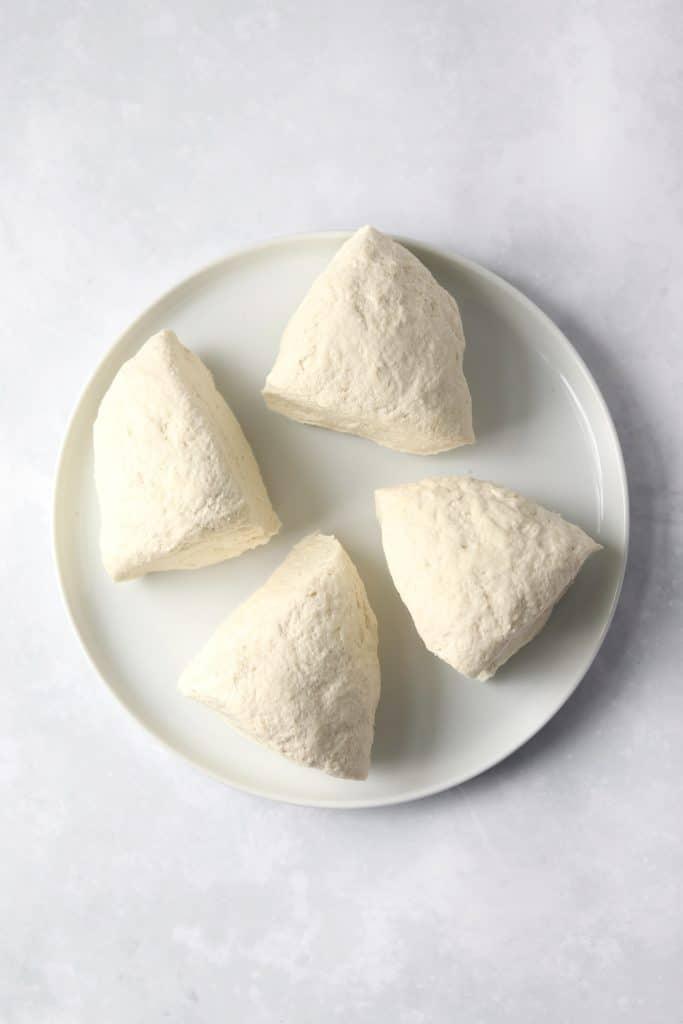 flatbread dough in 4 pieces