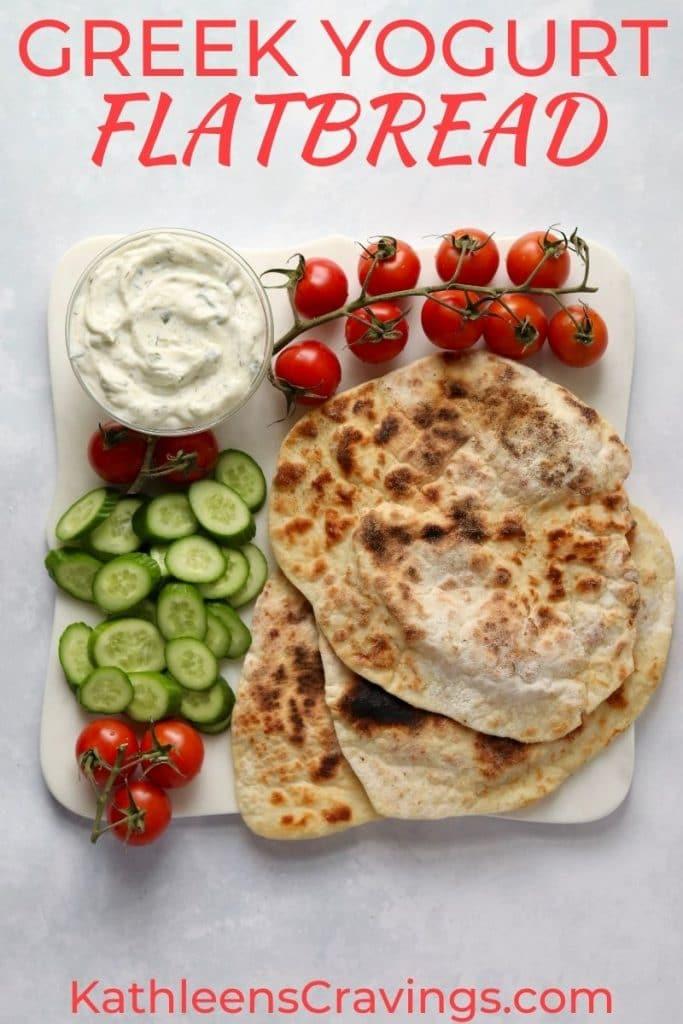 yogurt flatbread with tzatziki and veggies