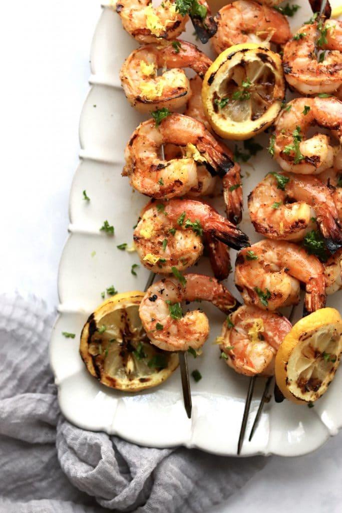 grilled shrimp kabobs on plate