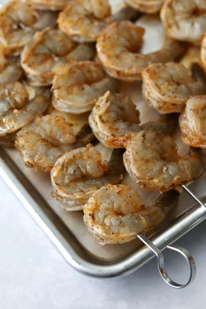 raw shrimp skewers