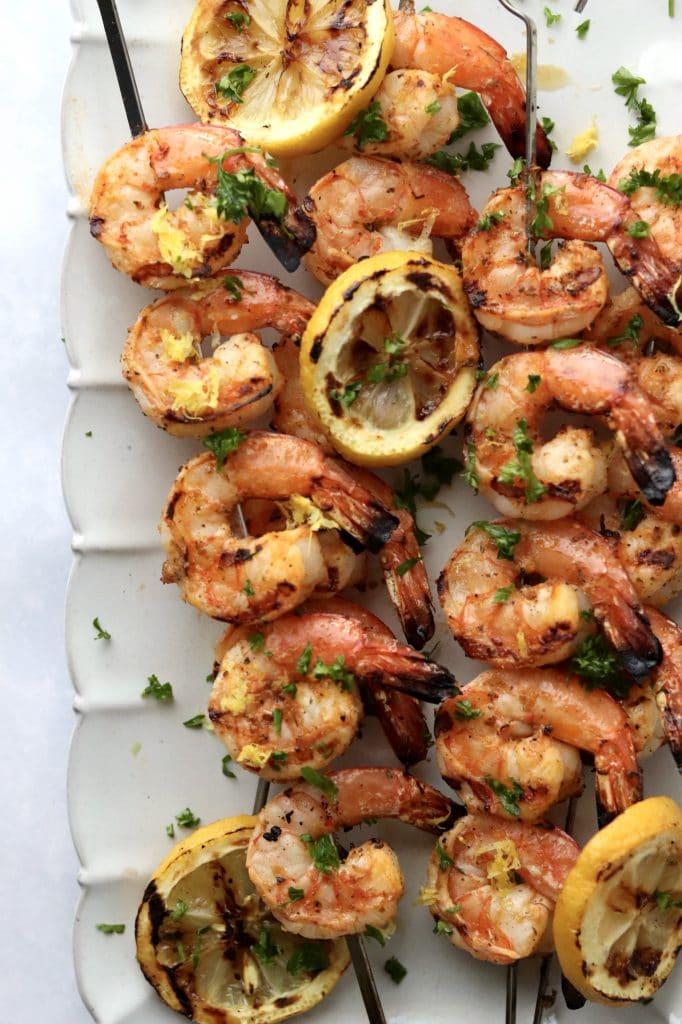 grilled shrimp kabobs with lemon
