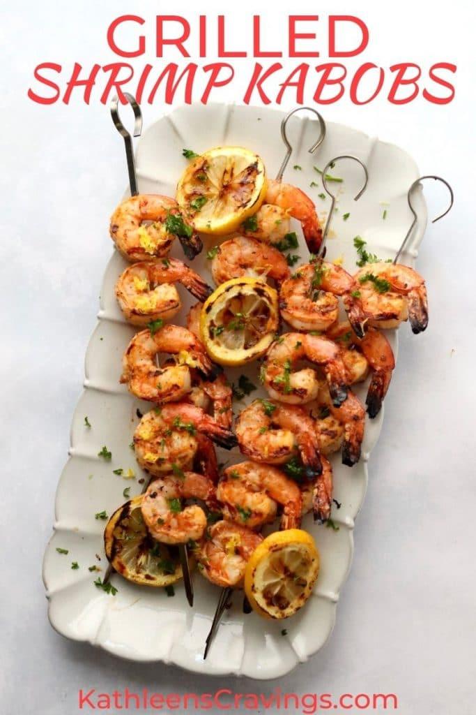 Grilled Shrimp Skewers on a platter