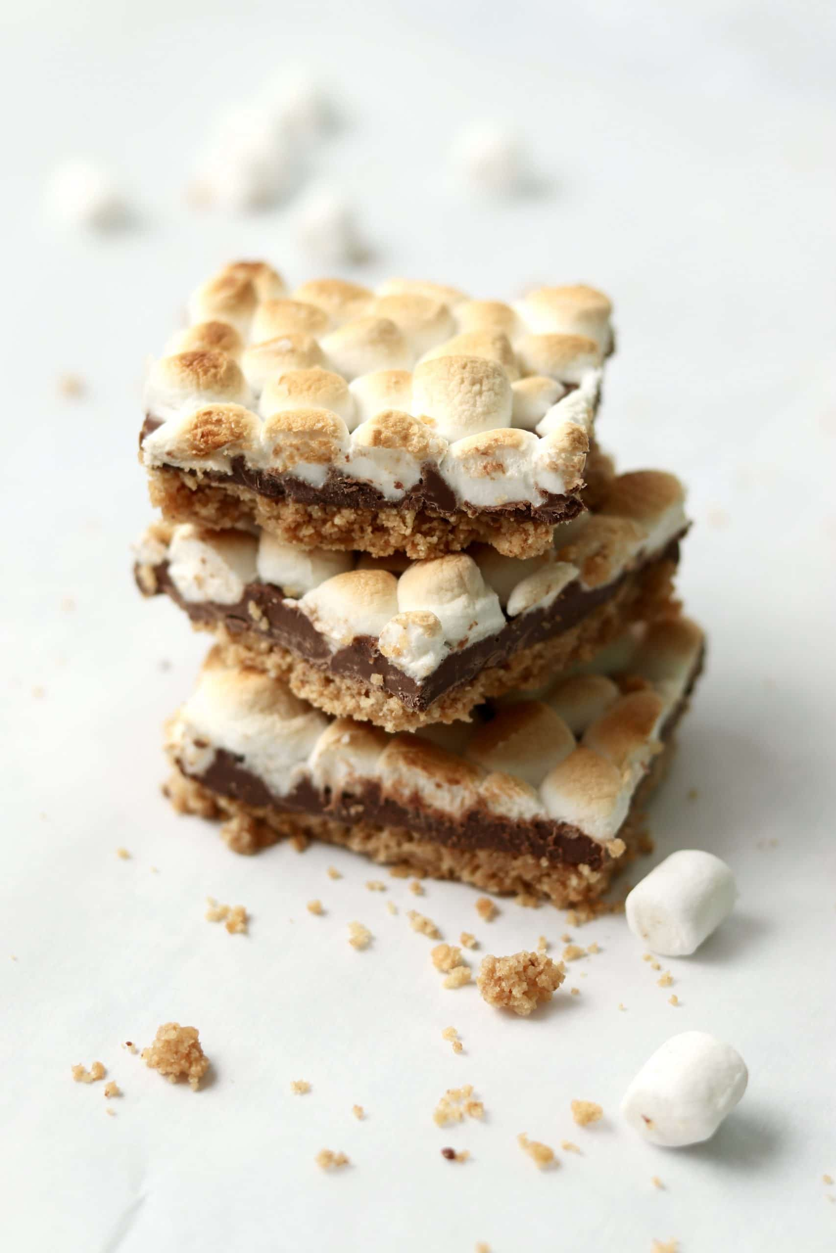 stack of s'mores bars with mini marshmallows