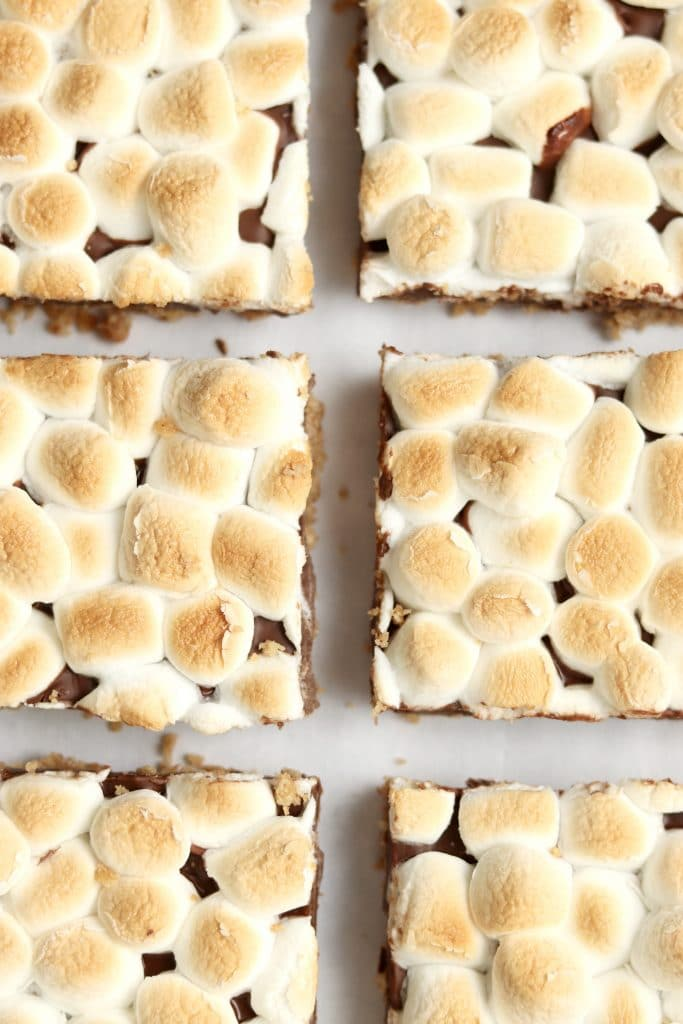 s'mores bars with toasted marshmallows