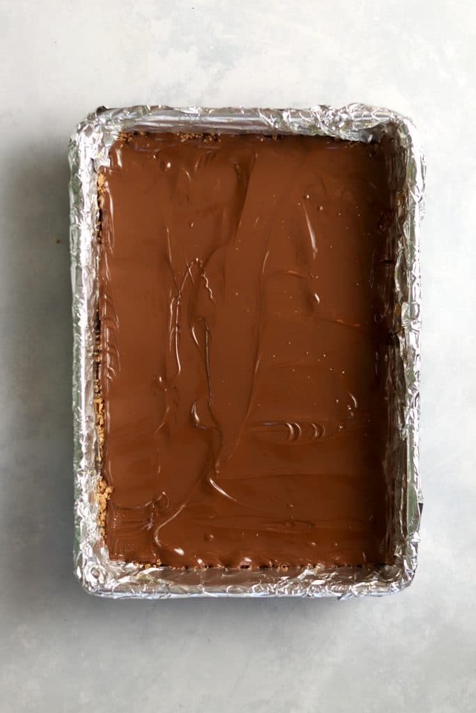 melted chocolate layer