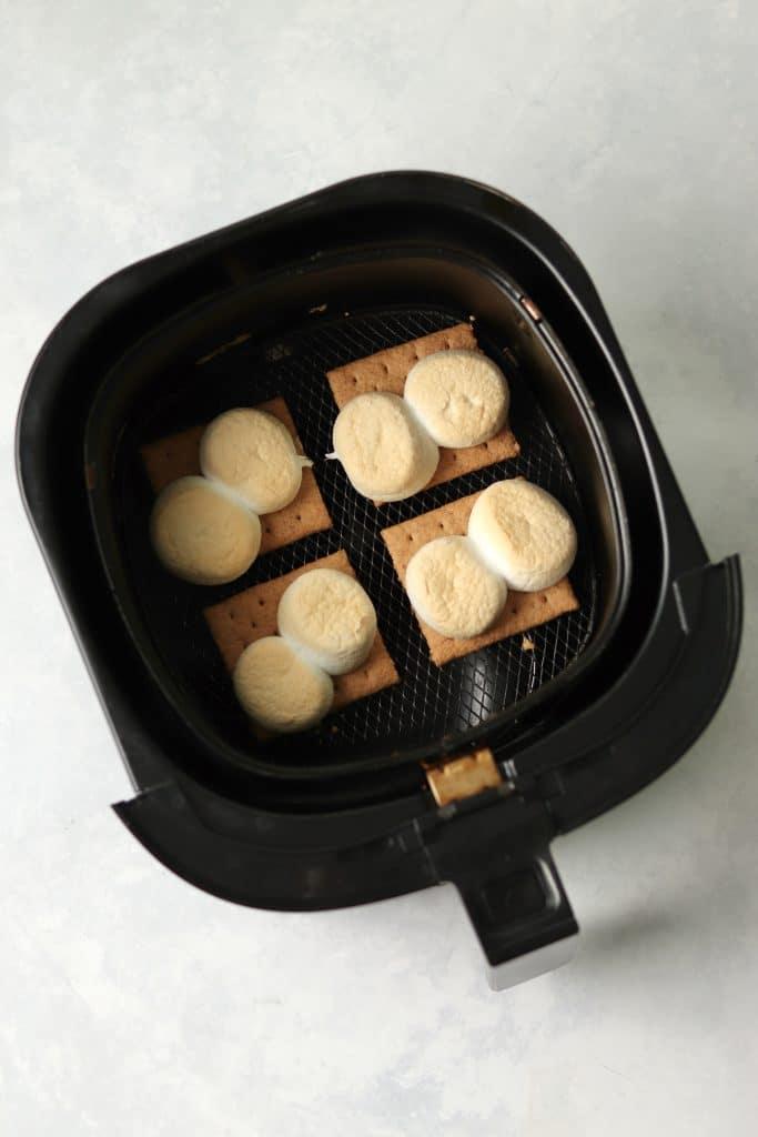 toasted marshmallows on graham crackers