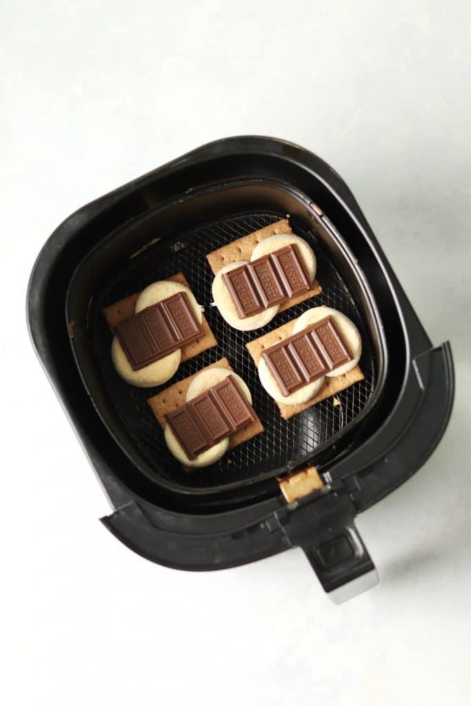 Hershey's chocolate on toasted marshmallows
