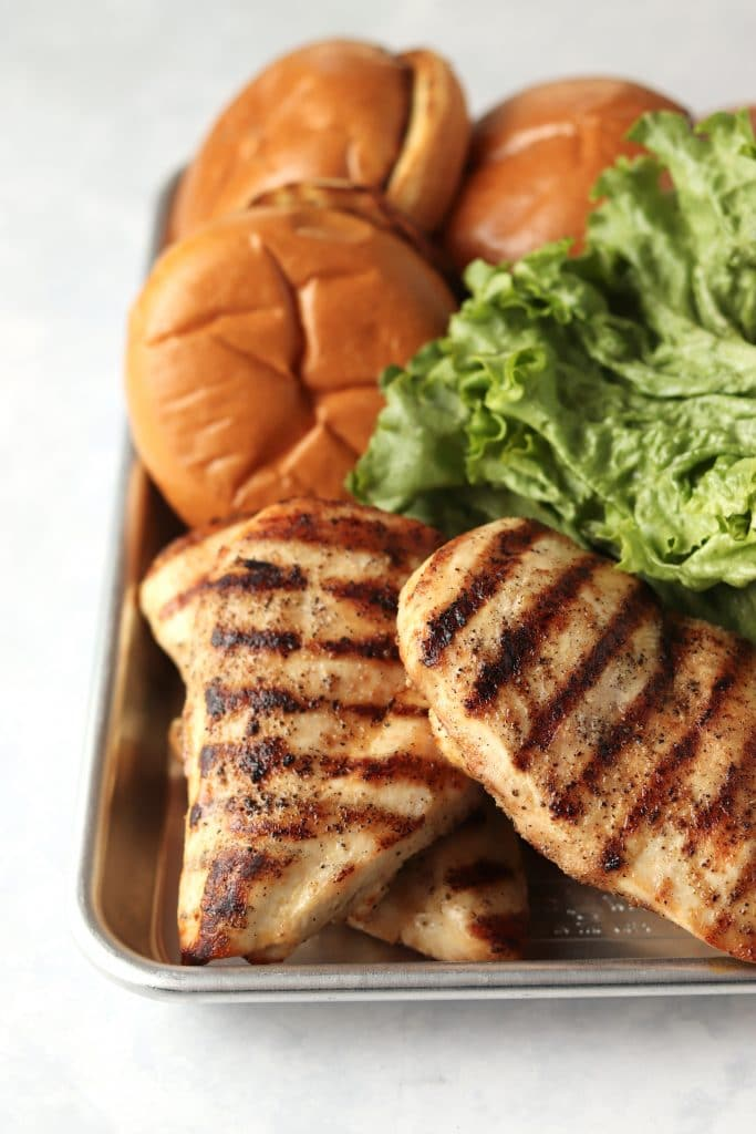 grilled chicken breasts and buns