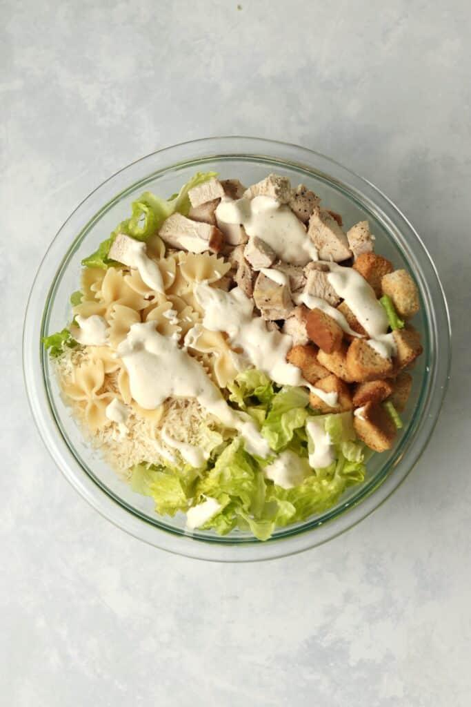 chicken Caesar Pasta Salad in a bowl