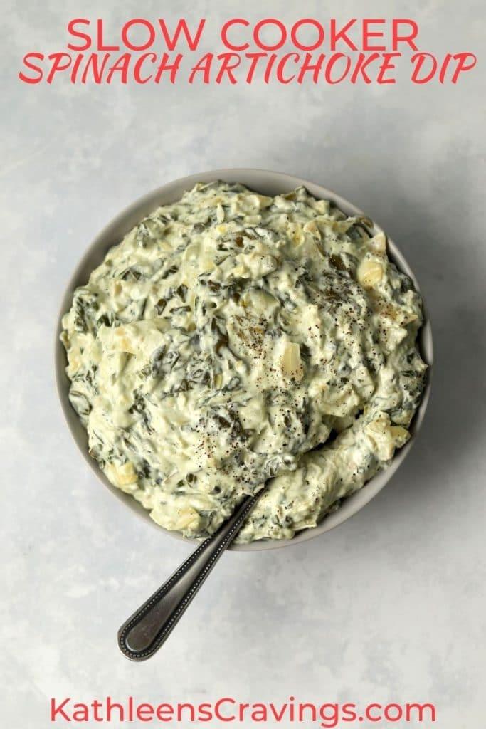 Spinach artichoke dip in a bowl