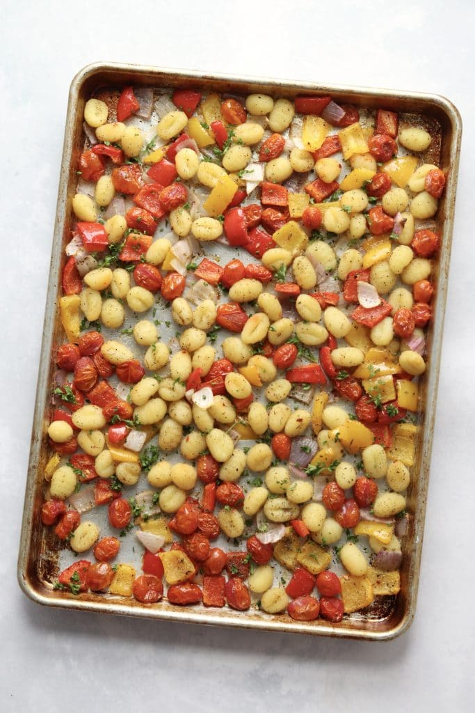roasted vegetables and gnocchi on a sheet pan