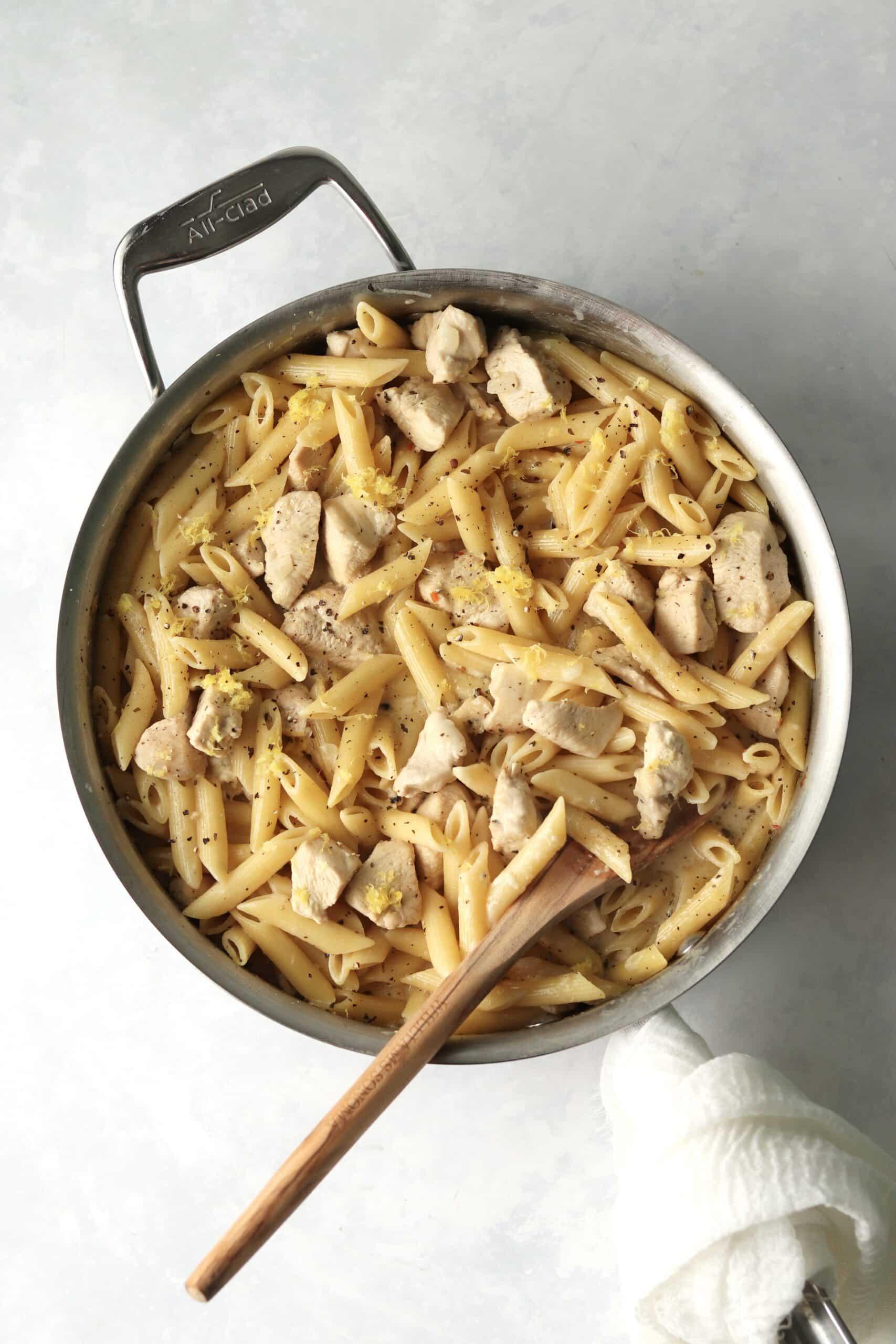 one-pot lemon chicken pasta in a pan
