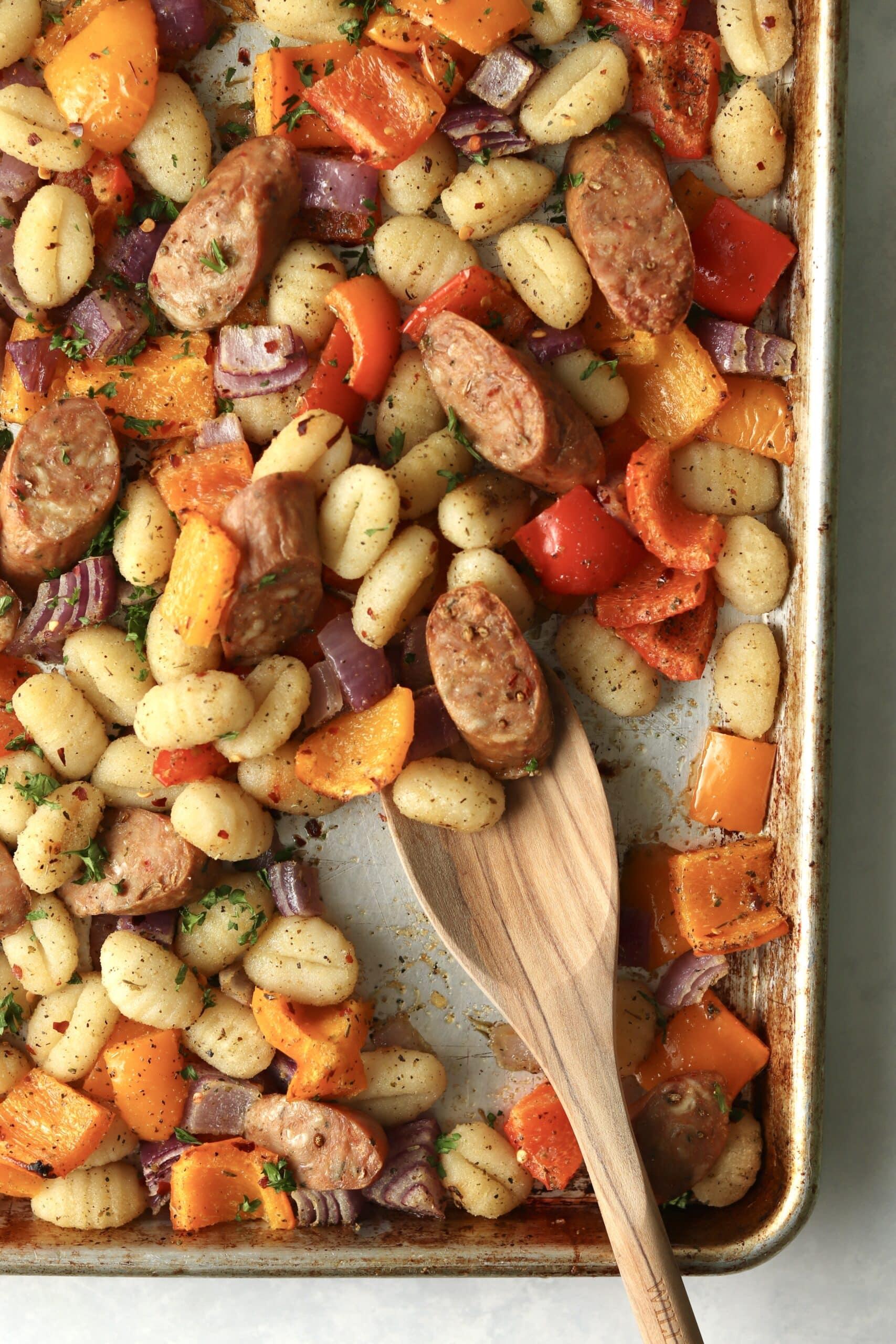 sausage and veggies on sheet pan