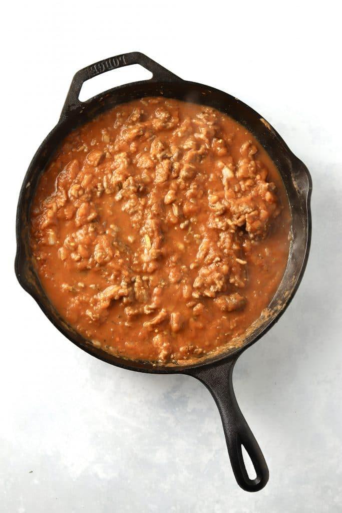 pumpkin sausage sauce in skillet