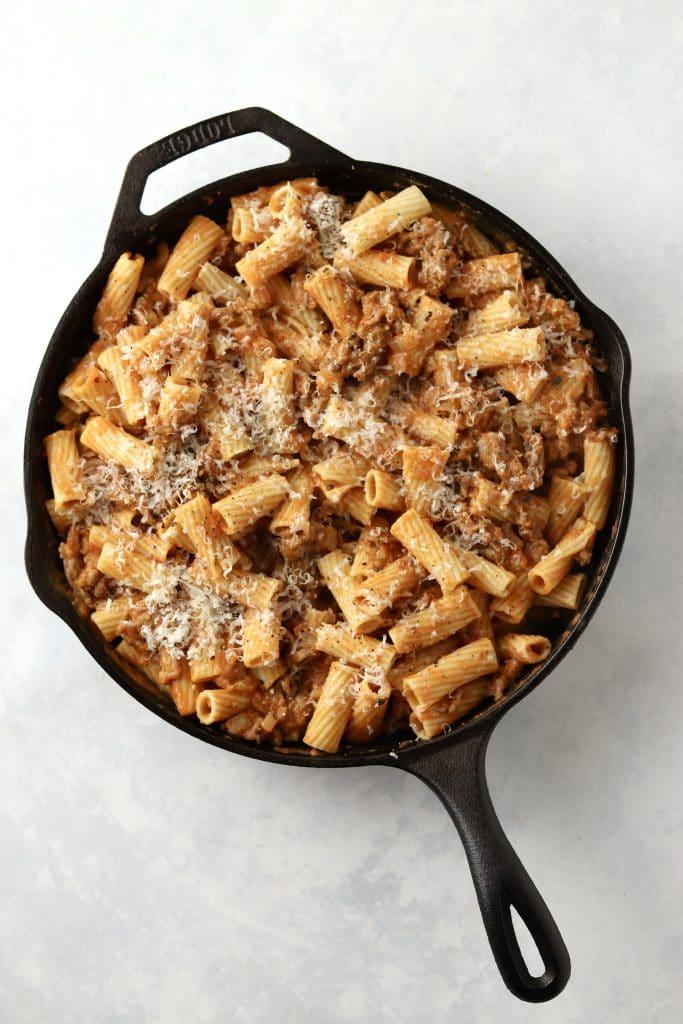 unbaked pumpkin pasta in skillet