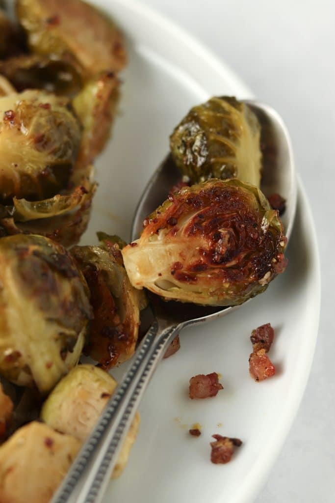 crispy Brussels sprouts on plate