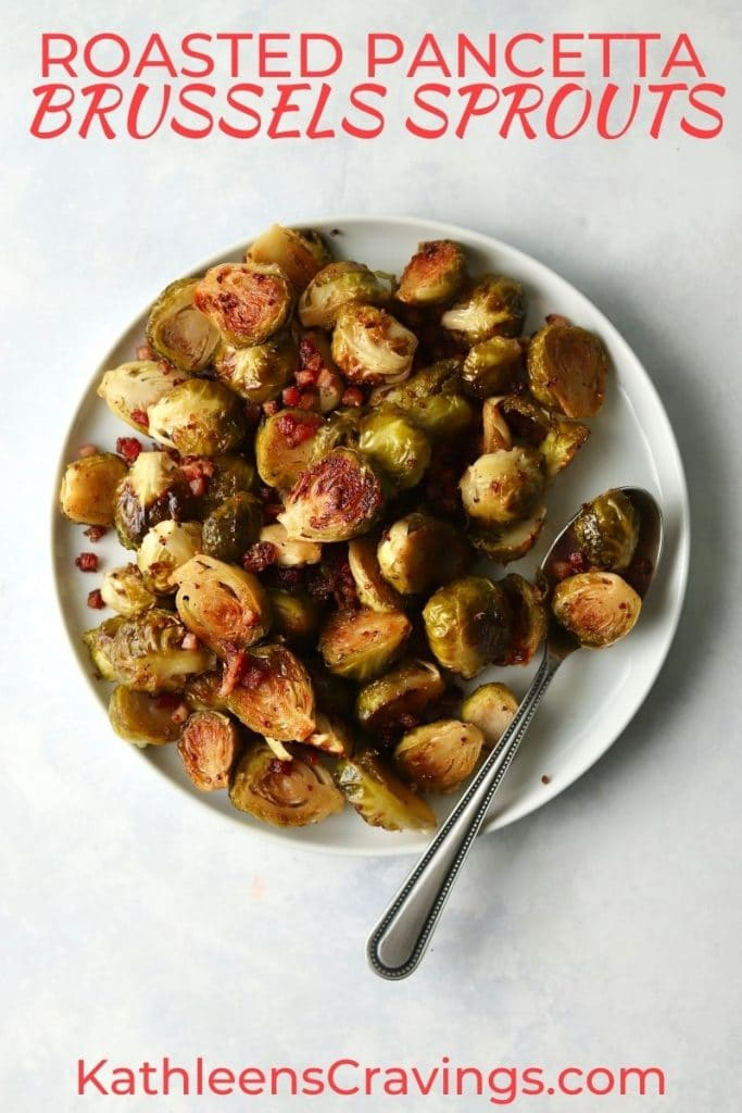 Roasted Brussels sprouts with pancetta on plate
