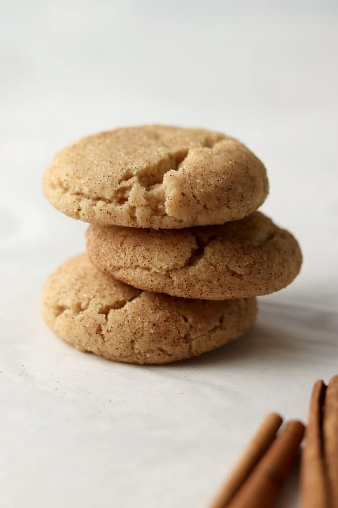 stack of snickerdoodles with cinnamon
