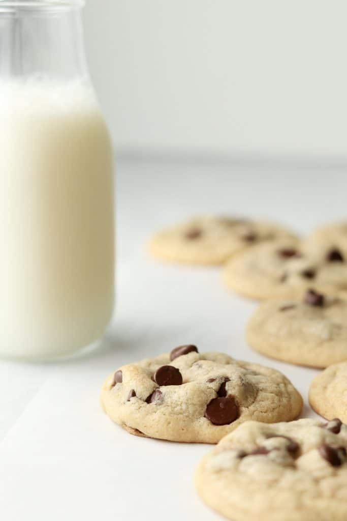 soft chocolate chip cookies with milk