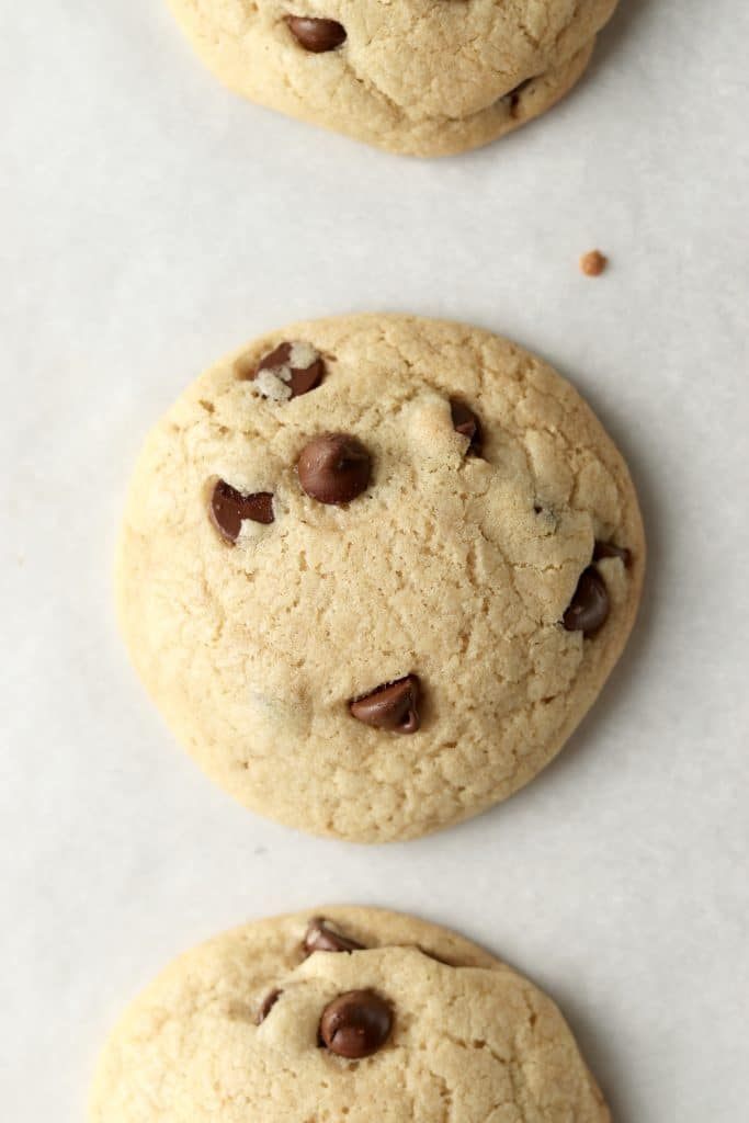 chocolate chip cookies straight out of the oven