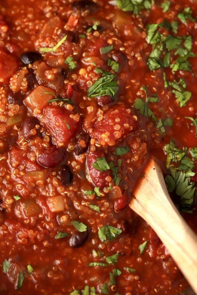 close up of quinoa vegetarian chili