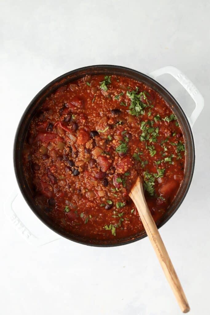 vegan quinoa chili in dutch oven