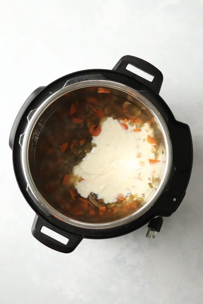 cooked wild rice soup with the béchamel added